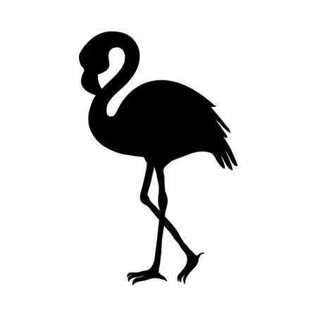 Flamingo isolated. Exotic bird. Silhouette flamingo, decorative flat design element.