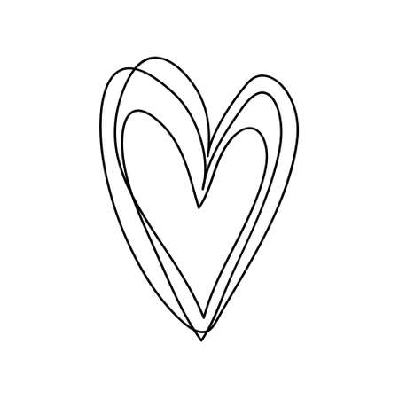 doodle hand drawn heart shaped on white background vector illustration.