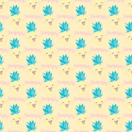 Simple cute seamless pattern with pineapples. Vector seamless pattern for kids. Illustration