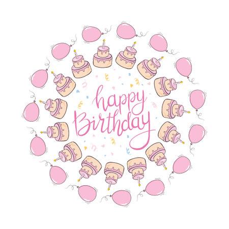 happy birthday girl greeting card. Creative Happy Birthday greeting background. Cake with Hand drawn ink brush stroke. Vector Illustration