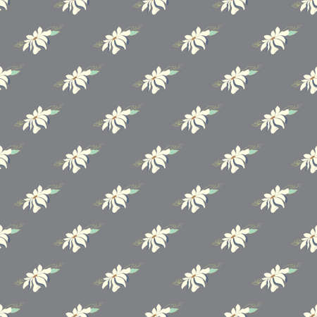 Seamless vector magnolia flower pattern. Delicate floral background on a gray background