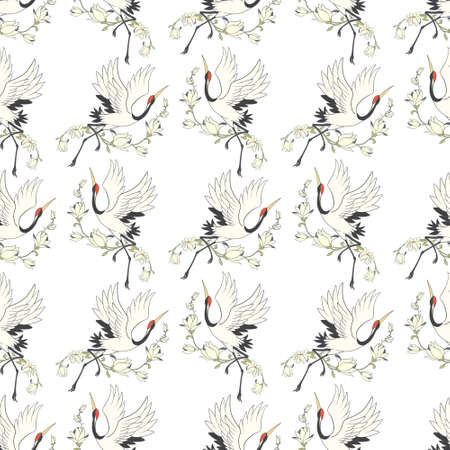 Seamless pattern with flowers and white Japanese cranes. Vector, illustration Illustration