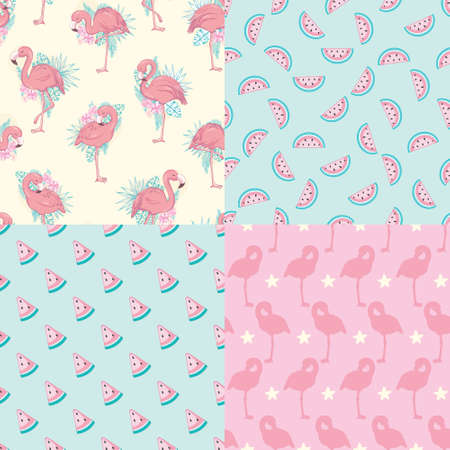 Set of vector wallpapers set of seamless patterns with images of flamingos Illustration