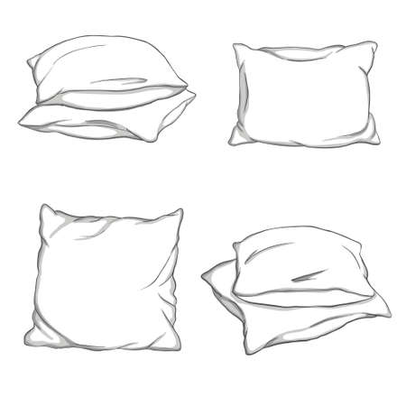 Set hand-drawn sketch style pillows - one, two, stack of four, hand holding pile of three pillows, vector illustration isolated on white background. Set of hand-drawn, sketch style pillows