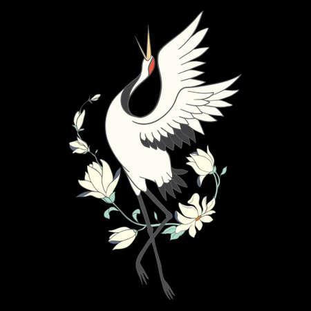 Japanese crane bird isolate on a white background. Vector graphics. Illustration