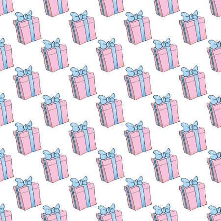 Party presents colorful seamless pattern with hearts and stars. Vector Illustration