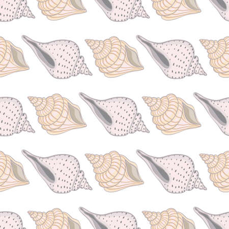 Seamless vintage pattern with seashells. Sea background. Vector illustration in the flat style. Perfect for greeting cards, invitations, wrapping paper, textiles, wedding design. Illustration