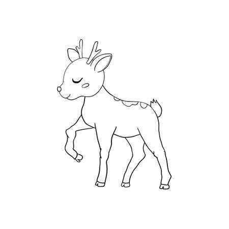 Hand-drawn Sketch of an Isolated Little Deer Black and White Cartoon Vector Illustration for Coloring Book-Drawn Vector