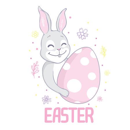 Easter bunny with a handwritten headline