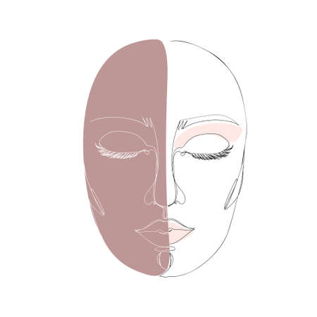 Abstract minimalistic linear sketch. Woman's face. Vector hand drawn illustration Illustration