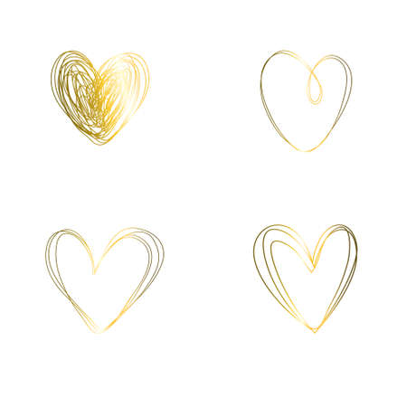 A set of isolated hearts made of gold shiny texture. Heart sketch for Valentine's Day Illustration