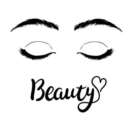 Isolated black and white female eyes make up icon. Vector and illustrations
