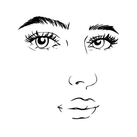 Woman face. Beauty concept. Eyelashes and lips. Make up. Vector illustration Illustration
