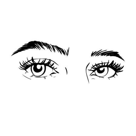 Isolated black and white female eyes. make up icon. hand drawn illustration