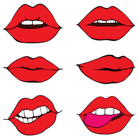 The woman's lips tightened. The girl's lips are covered with red lipstick, expressing different emotions. Vector, illustration