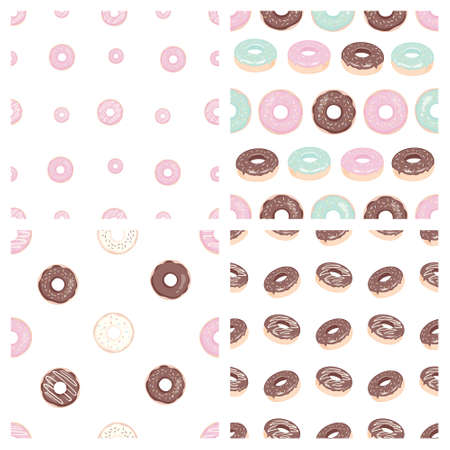 Donut seamless pattern. A donut with pink frosting. Donut on a white background. Design of the restaurant menu booklet. A bitmap illustration of a donut.