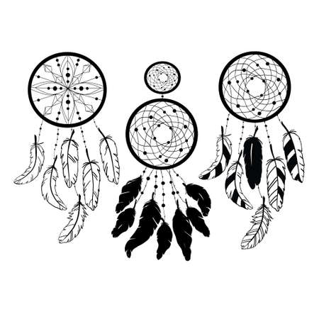 Set of Dreamcatcher silhouettes, ethnic vector illustration isolated on a white background. Suitable for printing on a t-shirt Illustration