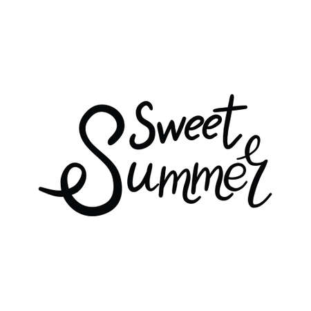 Brush lettering composition of Summer Vacation isolated on white background. Vector illustration.