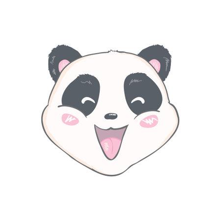 cute panda character vector design, greeting card, cartoon hand drawn Illustration