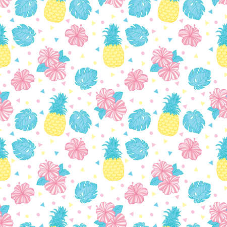 Exotic fruits on a white background. Seamless background with pineapples. Vector, illustration.