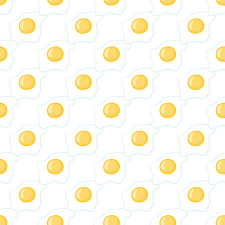 Broken eggs seamless pattern. Scrambled eggs with a seamless pattern. Scrambled eggs, isolated on a yellow background. Vector, illustration Illustration