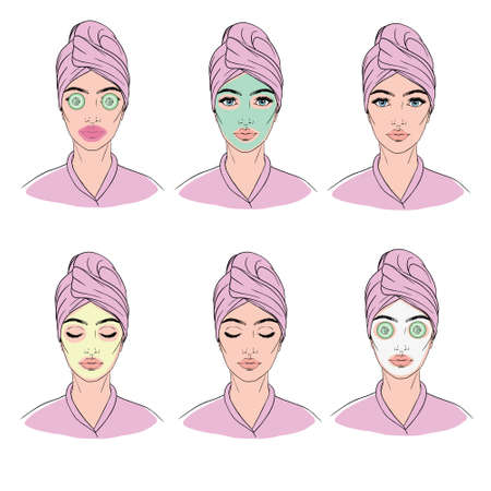 Colorful vector image illustrated steps of washing of pretty woman with comedo. Cute cartoon girl with skin problem shows the result of using care cosmetic product. Icon set for skincare infographic.