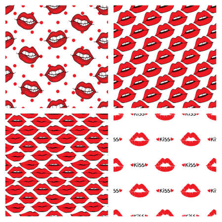 Seamless Lip and Kiss pattern on white background. Vector illustration