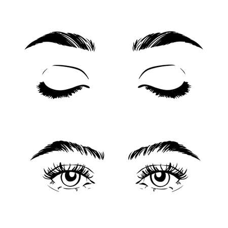 Female woman eyes and brows image collection set. Fashion girl eyes design. Vector illustration