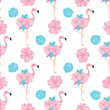 Flamingo seamless pattern. Vector background design for fabric and decor