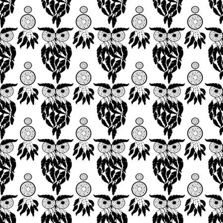 Hand drawn illustration with indian dreamcatchers and feathers on the white background. Vector seamless background, retro pattern, ethnic doodle collection, tribal design.