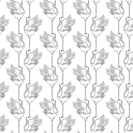 Seamless pattern with japanese cranes in a modern flat geometric style. Vector, illustration.