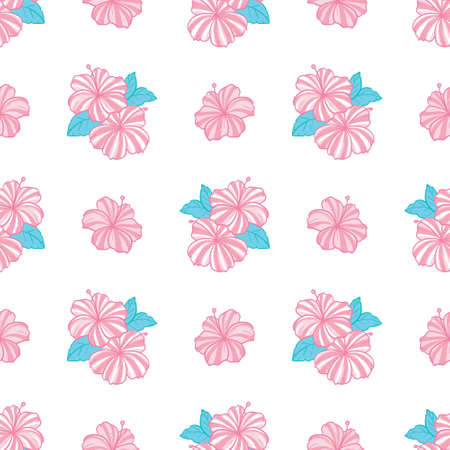 Tropical pattern with pink flowers and green leaves on a white background. Vector, illustration
