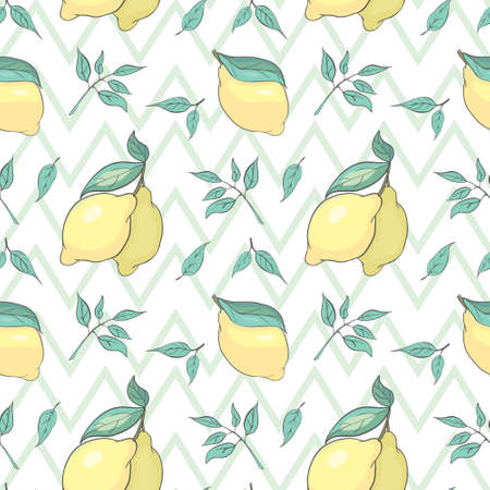 Fresh lemons background, hand drawn icons. Colorful seamless pattern with fresh fruits collection. Decorative illustration, good for printing Illustration