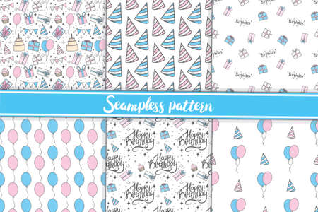 Seamless pattern happy birthday suitable for wrapping and decorating background. Vector illustration.