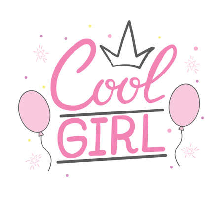 lettering girls typography illustration vector for girl clothes. Illustration