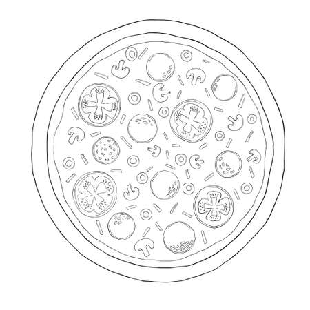 A pizza sketch. Vintage vector engraving illustration for a poster, menu, box. Isolated on a white background Vectores