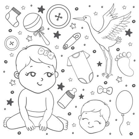 Set of baby icons in doodle stile. Could be used for cards, banners, patterns, wrapping paper, web