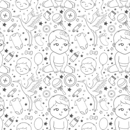 Baby hand drawn doodle set. Vector illustration for backgrounds, web design, design elements, textile prints, covers