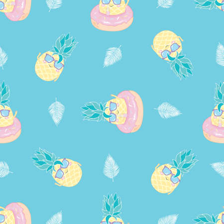 Pineapple with sunglasses seamless pattern on black. Vector background.