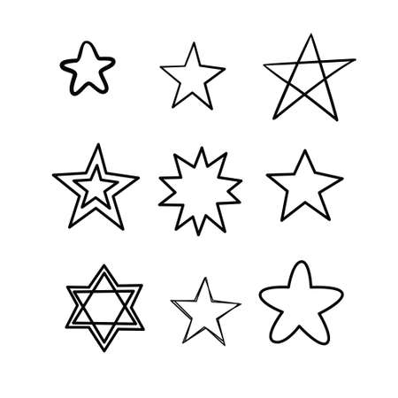 Doodle stars set. Many cute hand drawn stars on white background. Vector illustration for print, textile, paper. Vectores