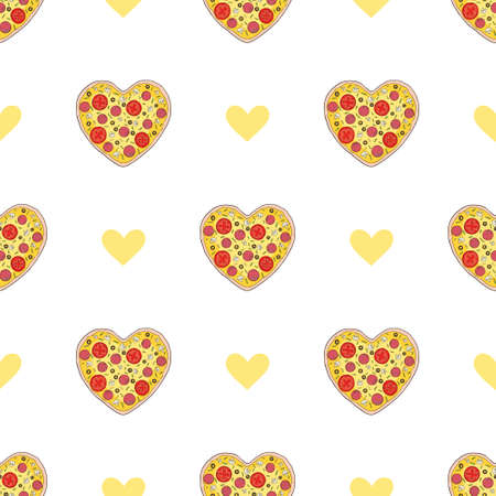 Pizza slices seamless pattern. Vector illustration on white background. Funny, cartoon pizza slices. Pizza fashion pattern print for textile or paper Vectores