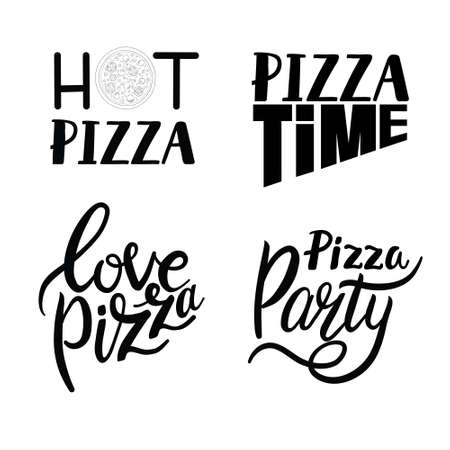 Pizza lettering quotes. Italian pizza, fast food lettering quotes, pizzeria menu food labels. Street food cafe pizza quotes illustration set