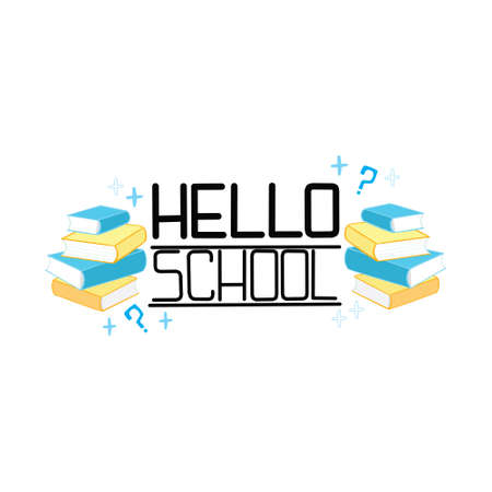 Lettering School on a white background. Hand-drawn Sketch Scribbles with inscriptions in the School Book. Design elements of a vector illustration in a flat style