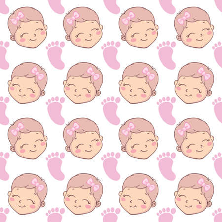 Baby shower girl seamless pattern. Vector pink pattern with a seamless pattern.
