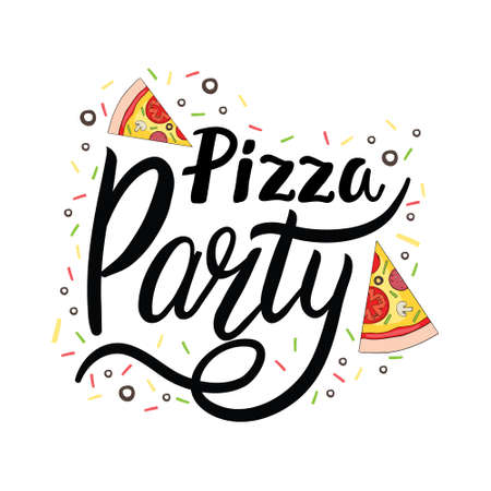 Pizza Lettering. Cute greeting card with colorful calligraphy. Hand-drawn vector illustration in cartoon style