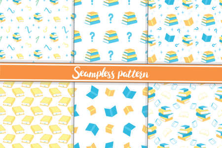 Book patterns set library study vector. Illustration of 4 book patterns seamless set for web and digital