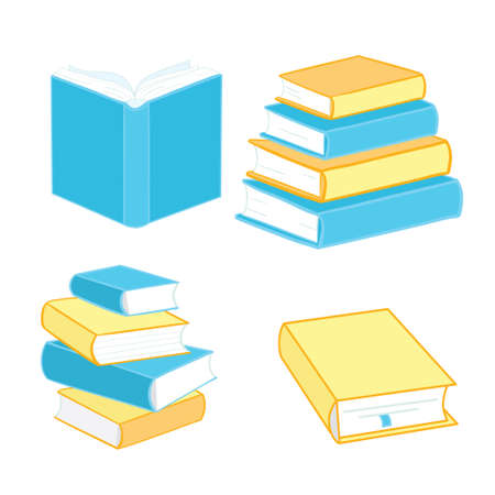 Book icons are made in a flat style of school textbooks, isolated on a white background. A set of encyclopedias and textbook signs vector illustration