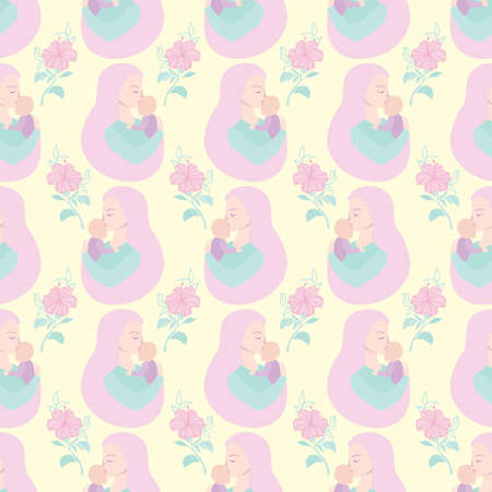 Happy Mother's Day pattern. Beautiful silhouette of a mother and daughter