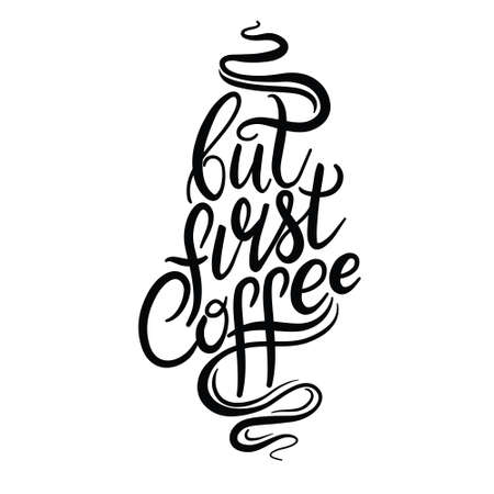 Hand drawn calligraphy and brush pen lettering word coffee. Design of advertising brochures and invitations to cafes, restaurants, bakery Vectores