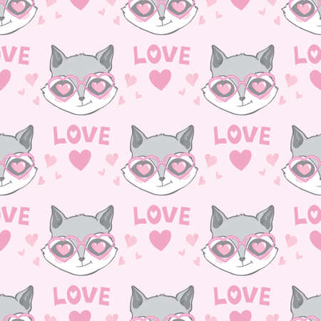 Seamless pattern with cute baby raccoons. Kids vector background Vectores